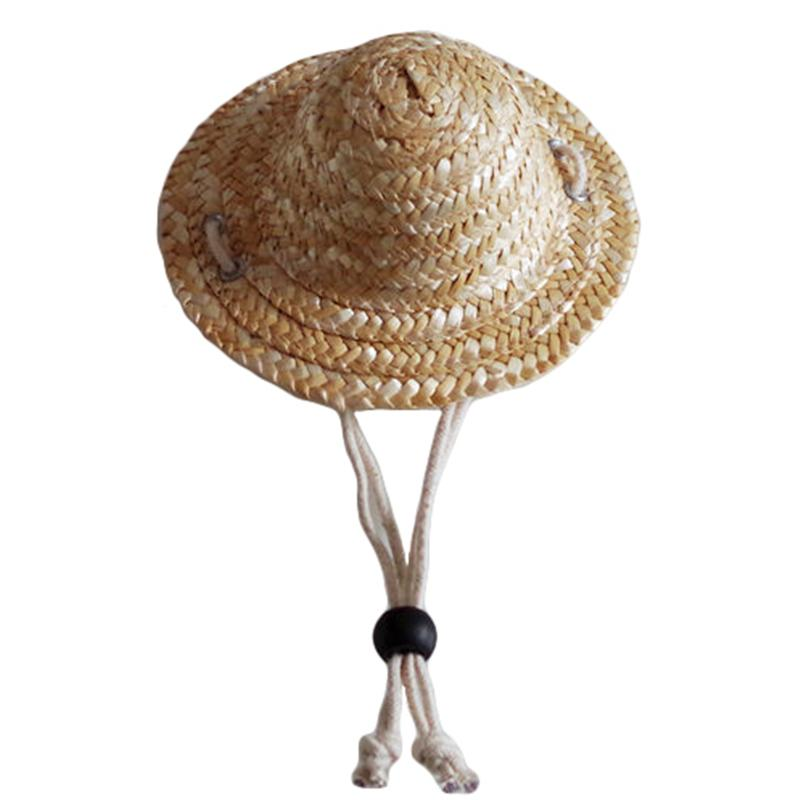 Fashionable Pet Sun Hat Handcrafted Woven Hawaii Style Adjustable Pets Dog Puppy Caps Cute Straw Hat Pet Accessories