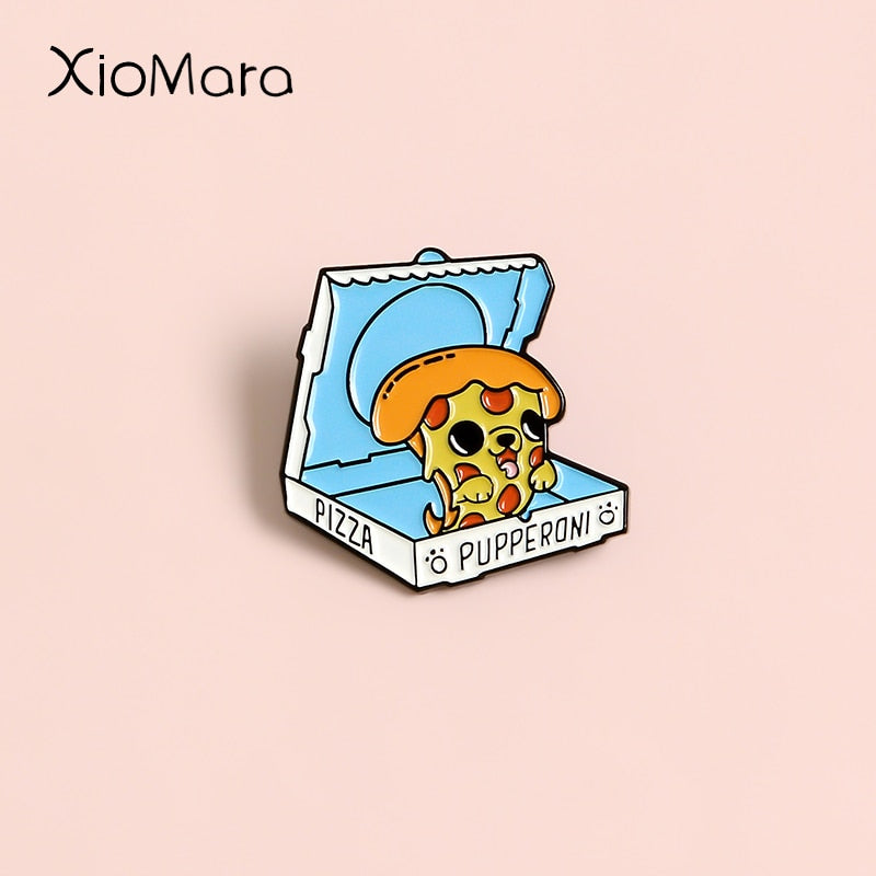 Surprise ~ Meme Pizza Puppy Pupperoni Pet Dog's Paw Food Take Out Box Badge Brooches Jeans shirt Button Pin For Friends Gifts