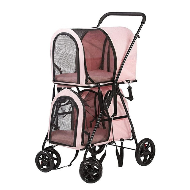 Pretty in Pink Foldable Pet Stroller, Double Decker Stroller on Wheels