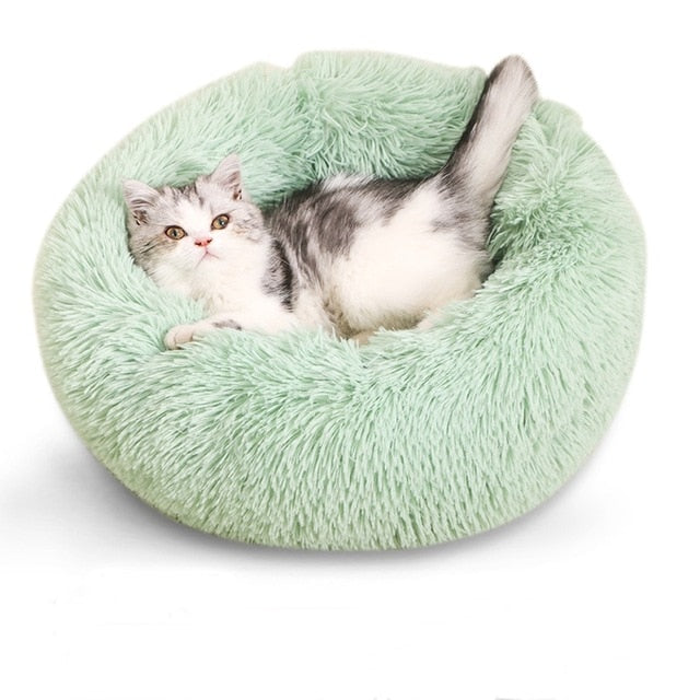 New Round Plush Dog Mattress Warm Winter Sleeping Cat Litter Plush Dog Basket Pet Cushion Soft Washable Pet Bed Warm Winter Sofa
