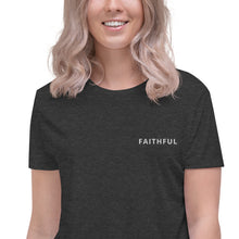 Load image into Gallery viewer, FAITHFUL Embroidered Flowy Crop Tee
