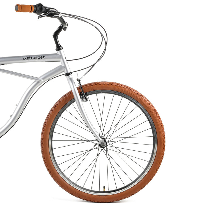 "Retrospec Chatham Beach Cruiser 7-Speed 26"" - Matte Silver/Cardinal 2021"