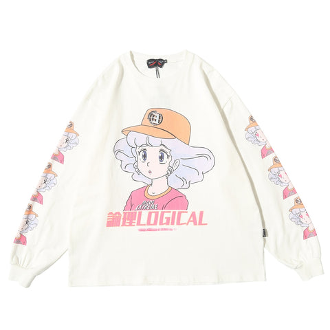 Harajuku Anime Sleeved T-shirt