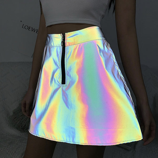 Women's Reflective Harajuku High Line Waist Skirt