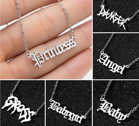 Aesthetic Art lettering necklace