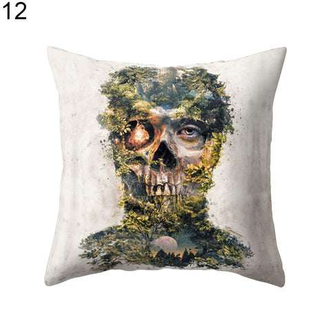 Halloween Home Decoration Skull Rose Wolf Print Cushion Cover Throw Pillow Case - skulldaze