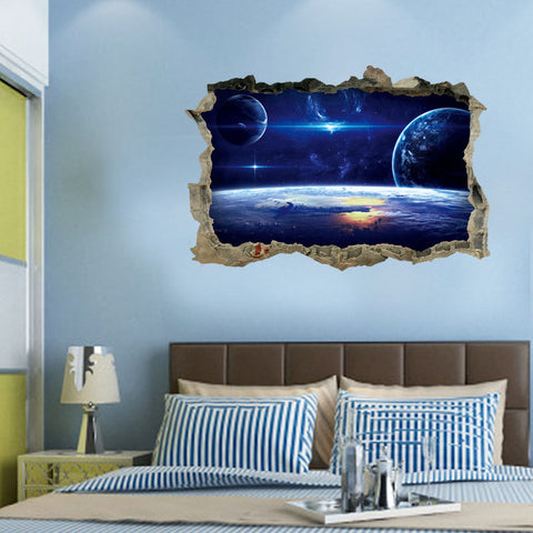 3D Outer Space Galaxy Planet Wall Stickers for Kids Children Bedrooms Decals Home Decor - skulldaze