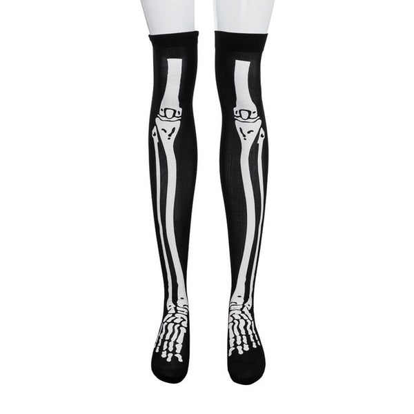 Halloween Black White Long Knee High Socks Costume Masquerade Carnival Cosplay Soft Wind Thigh Stockings Over The Knee - skulldaze