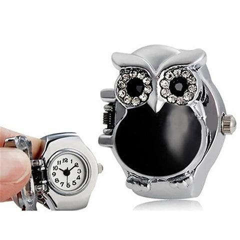 Wise Watch Ring - Owl Jeweled Ring with Stealth Hidden Watch Face - skulldaze