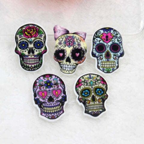 10pcs/lot DIY planar resin cabochons accessories flat back resin skull with flowers