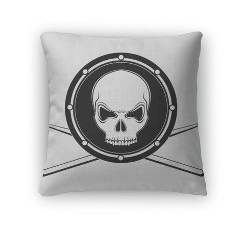 Throw Pillow, Jolly Roger Drum Skull With Drumsticks - skulldaze