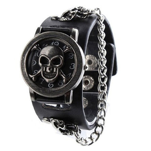 Rock Chain Skull Pattern Faux Leather Band Wristwatch - skulldaze