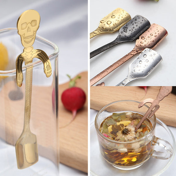 Stainless Steel Cute Skull Hanging Spoon Kitchen Tool - skulldaze