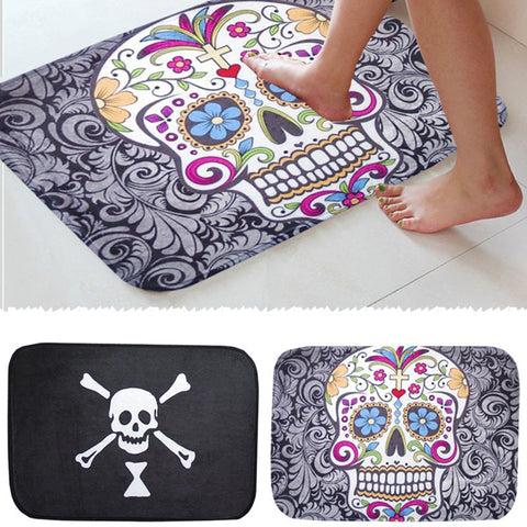 40 x 60cm Skull Floral Bone Doormat Front Entrance Door Bathroom Non-slip Mat - skulldaze