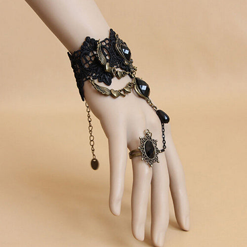 Black  Lace Hand Chain Ring Bracelet Set - skulldaze