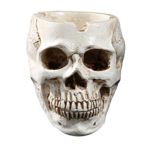 Human Skull Shaped Resin Ashtray - skulldaze