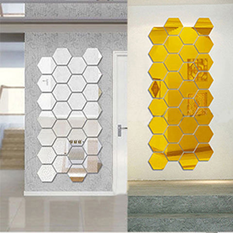 Honeycomb Wall Art Adhesive Mirror