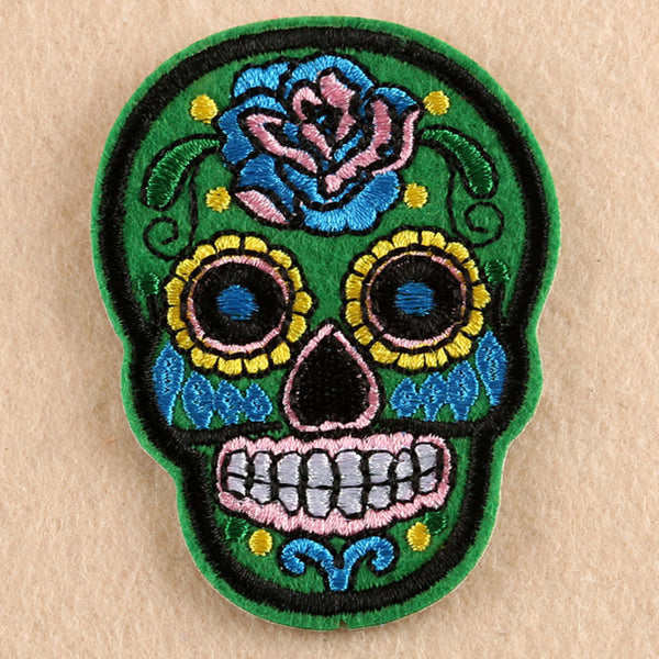 Sugar Skull Iron On Patches - skulldaze