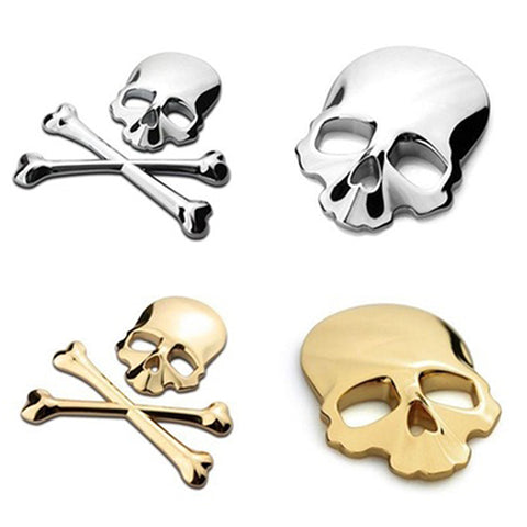 3D Skull Skeleton Crossbones Car Motorcycle Metal Decal - skulldaze