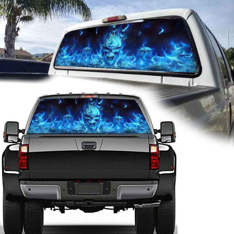 Burning Skull Pattern Rear Window Decal Truck Sticker - skulldaze