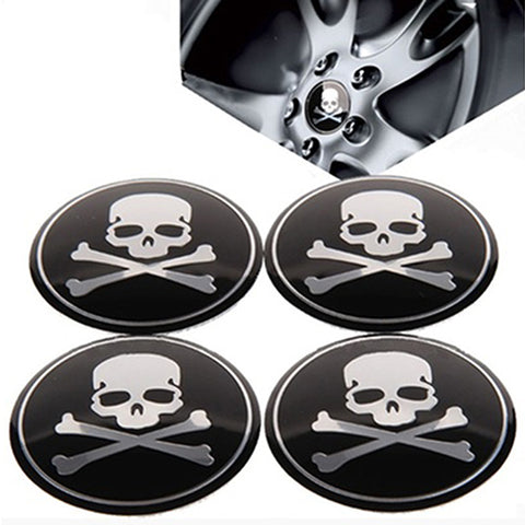 4Pcs Car Wheel Center Hub Cap Skull Tire Emblem Decal Stickers Accessories - skulldaze