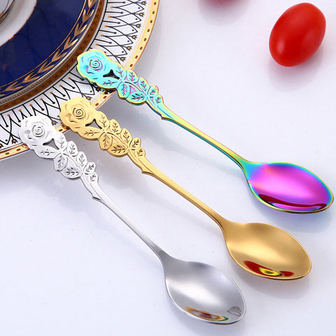 Colorful Coffee Tea Rose Hot Drink Stirring Spoon