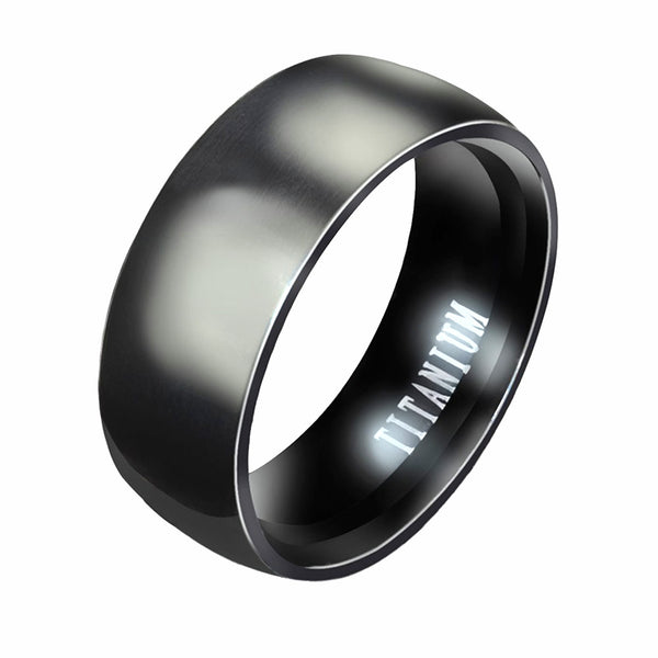 Black Titanium RIng Band - skulldaze