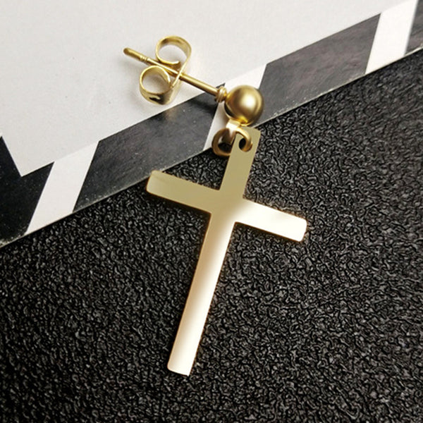 Stainless Steel Cross Dangle Earring - skulldaze
