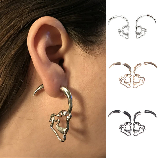Skull Shaped Hoop Earrings - skulldaze