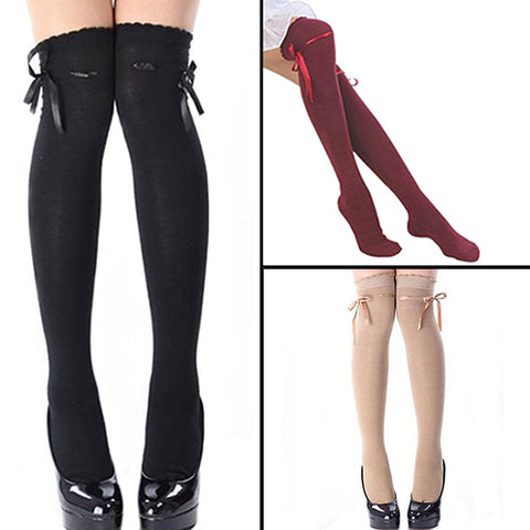 Women Sweet Casual Autumn Over the Knee Socks Stockings Thigh Highs Hold-ups - skulldaze