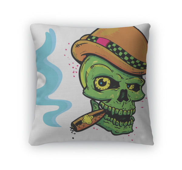 Throw Pillow, Punk Tattoo Style Skull With Wings Smoki - skulldaze