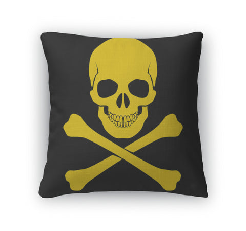 Throw Pillow, Skull And Crossbones - skulldaze