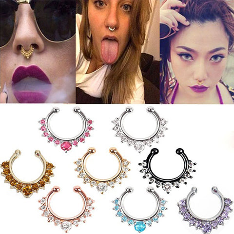 Fake Nose Ring - Clip On Body Jewelry - skulldaze