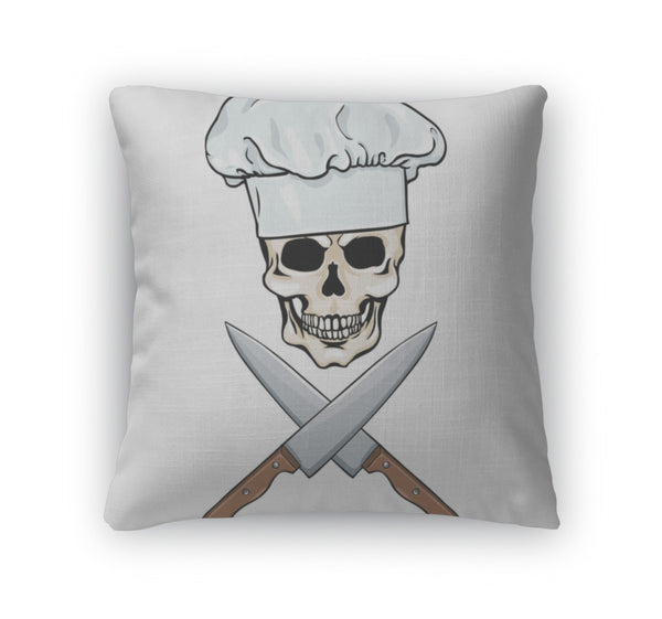 Throw Pillow, Character Skull Chef And Crossed Knifes - skulldaze