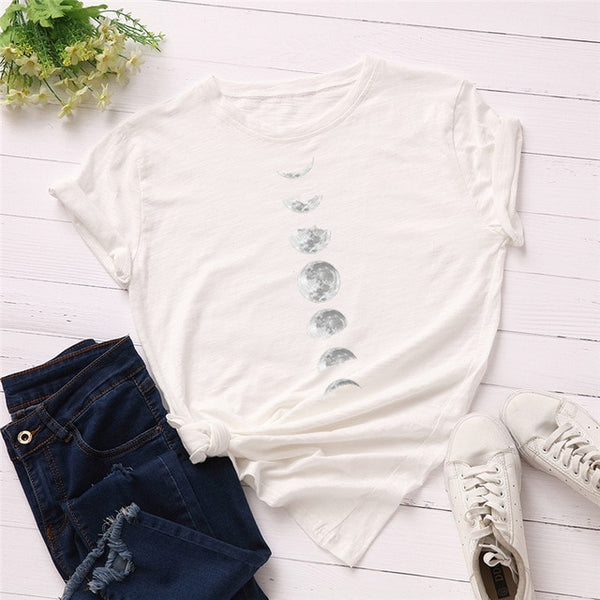 Plus Size S-5XL New Moon Planet Print T Shirt Women Shirts O Neck Short Sleeve Summer T-Shirt Tops - skulldaze