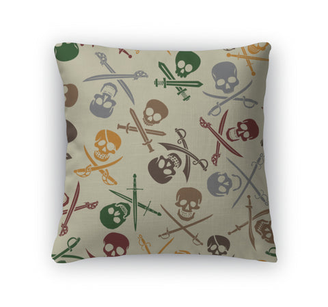 Throw Pillow, Pirate Skulls With Crossed Swords Pattern - skulldaze