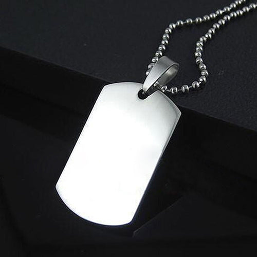 Matte Black Engravable Dog Tag Necklace - skulldaze