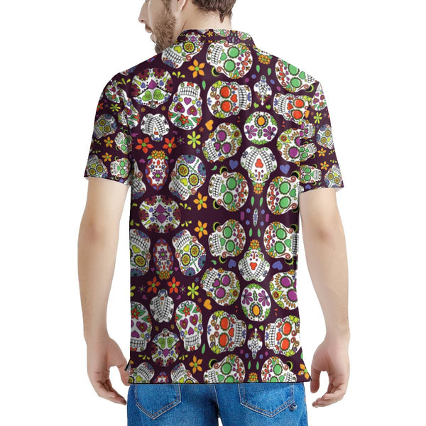 Sugar Skull Men's All Over Print Polo Shirt - skulldaze