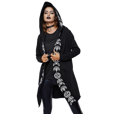 Black Hooded Cloak With Celestial Accent Print - skulldaze