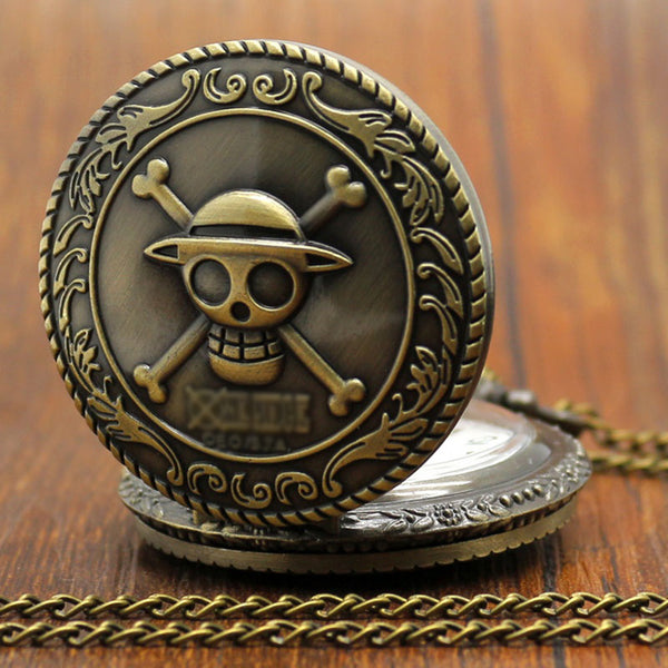 Bronze Pirate Skull Pattern Quartz Pocket Watch Pendant Necklace - skulldaze