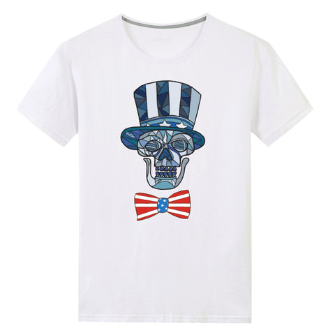 SkullDaze Patriotic Skull and Bowtie Uncle Scram Unisex T-shirt - skulldaze