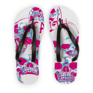 Faith and SKulls Adult Flip Flops - skulldaze