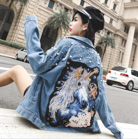 Embellished Denim Unicorn Jacket - skulldaze