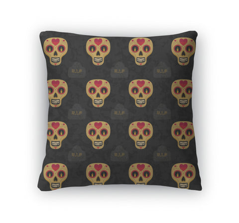 Throw Pillow, Dia De Muertos Cartoon Skull Ornate Day The Dead Pattern - skulldaze