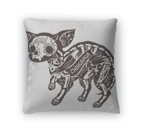 Throw Pillow, Floral Chihuahua - skulldaze