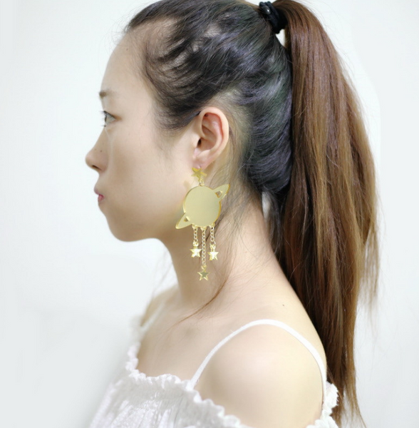 Fashion Acrylic Jewelry Custom Women Gold Mirror Tassel Star Drop Earrings HipHop Jewelrys Saturn Large Dangle Earring - skulldaze