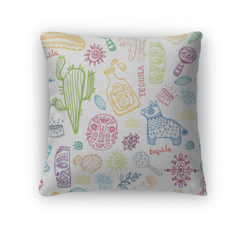 Throw Pillow, Mexico Illustrations Collection Pattern - skulldaze