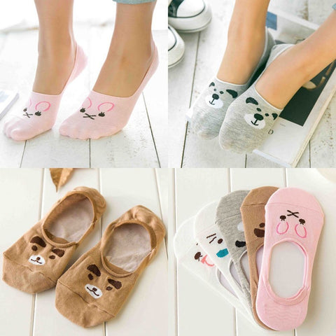 Cute Women Girl Bear Cat Dog Rabbit Invisible Low Cut No Show Loafer Boat Socks - skulldaze