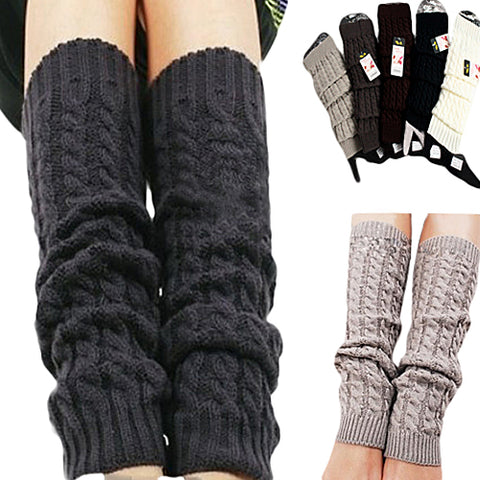 Warm Crochet Knit High Knee Leg Warmer - skulldaze
