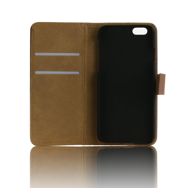 Faux Leather Phone Wallet Case with Stand fits iPhone 4 5 6 7 Plus - skulldaze
